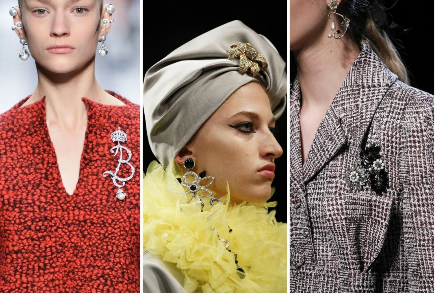 Balenciaga/Marc Jacobs/Erdem Images courtesy: Vogue and Getty Images jewellery trends for 2018 - Neo brooches - Jewellery trends for 2018 – Bangalore