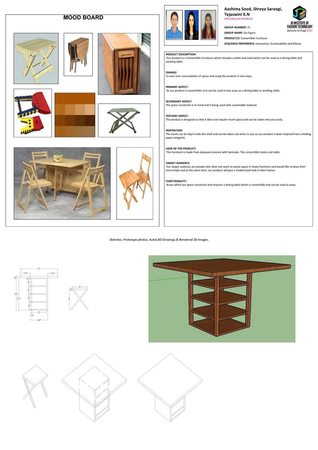 Foldable Dining Table – CHANGE – JD ANNUAL DESIGN AWARDS 2018 | Designer: Aashima Sood, Shreya Saraogi, Tejaswini K.N | Photography : Jerin Nath (@jerin_nath) foldable dining table - foldable - Foldable Dining Table – CHANGE – JD Annual Design Awards 2018