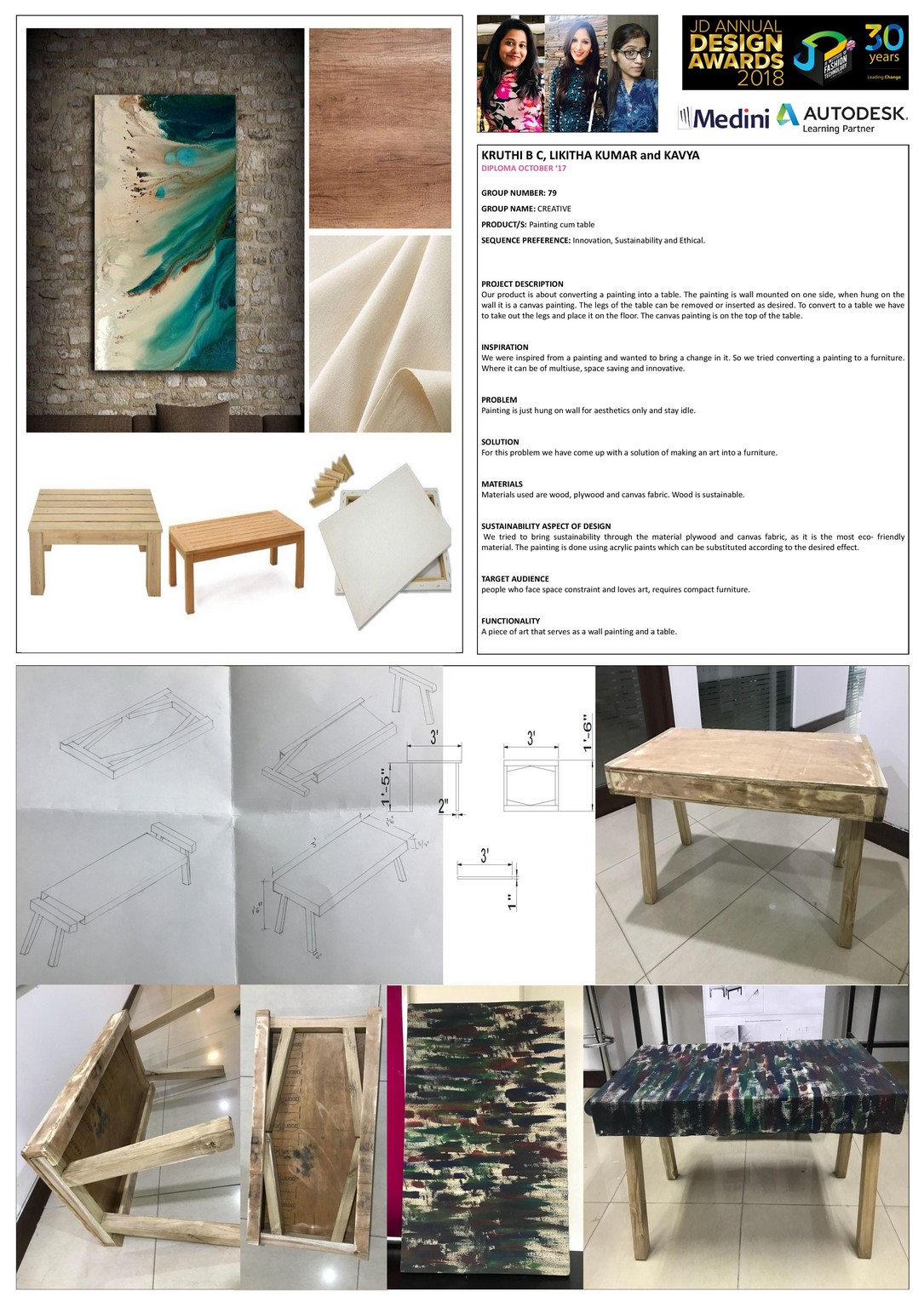 Painting cum table– Change – JD Annual Design Awards 2018 | Designer: Kruthi, Likitha, Kavya | Photography : Jerin Nath (@jerin_nath)  painting cum table - painting cum - Painting cum table– Change – JD Annual Design Awards 2018