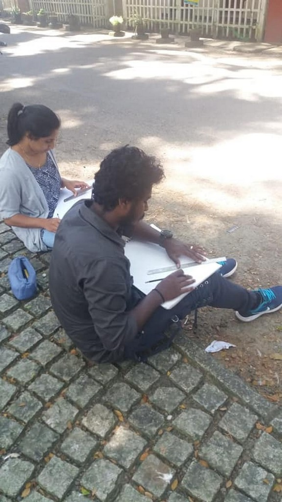 perspective - Students busy Sketching - PERSPECTIVE
