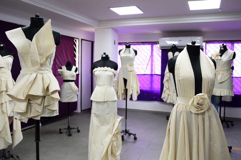 Fashion Design Students creating wonders fashion design students - Draping 1 - Fashion Design Students creating wonders by folding and pinning the fabrics | Draping Exhibition