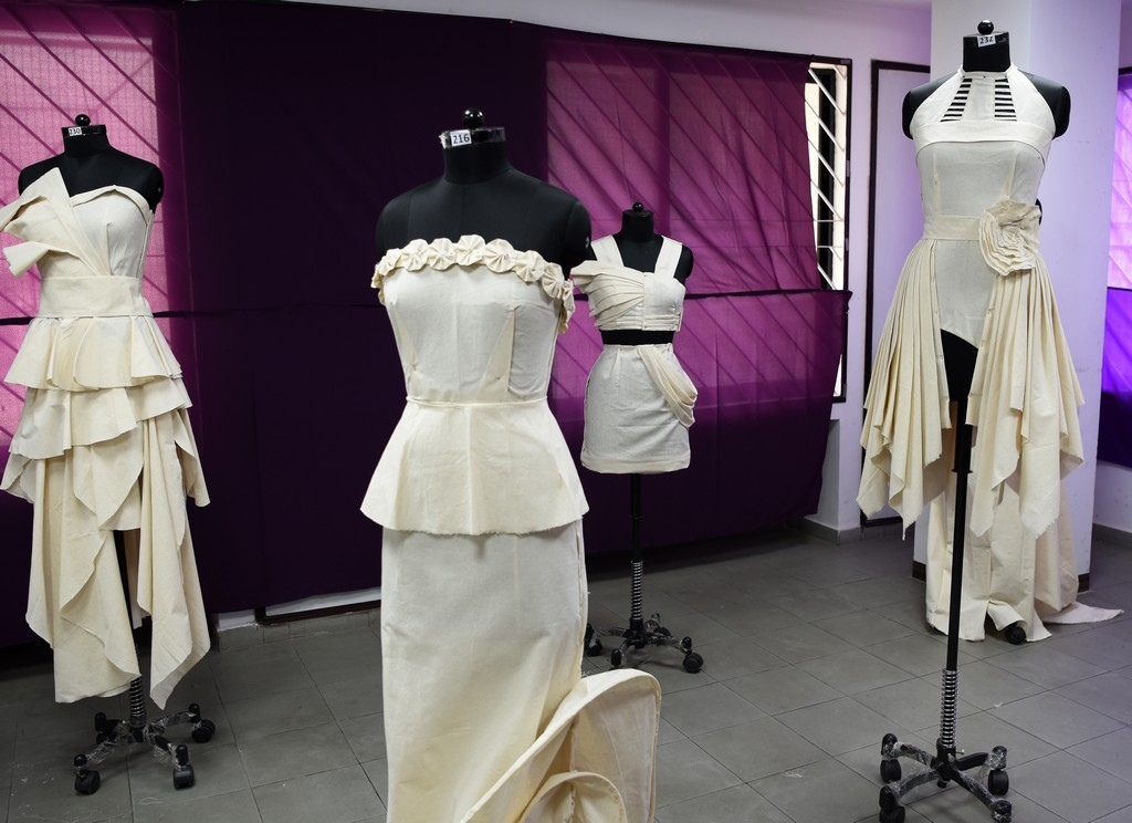 Fashion Design Students creating wonders fashion design students - Draping 3 - Fashion Design Students creating wonders by folding and pinning the fabrics | Draping Exhibition