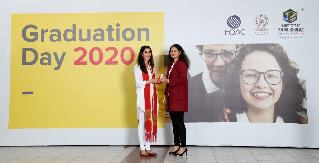 Student getting felicitated graduation ceremony - Student getting felicitated - Graduation Ceremony for students of JD Institute of Fashion Technology