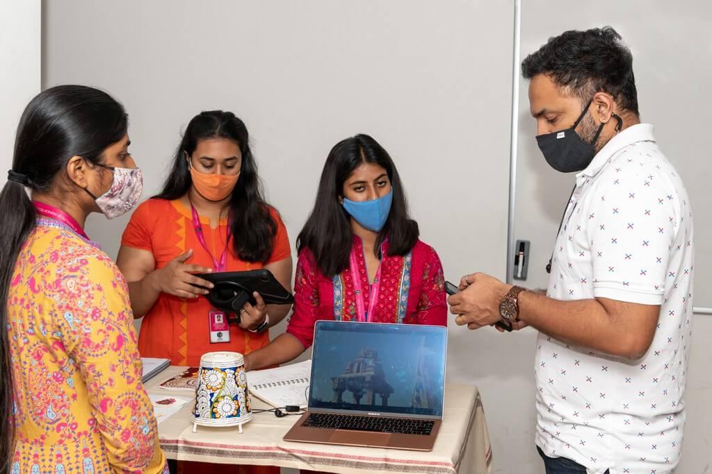 Sanati: Nimmalakunta leather craft of Andhra Pradesh  leather craft - students disscussing with faculty - Sanati: Nimmalakunta leather craft of Andhra Pradesh