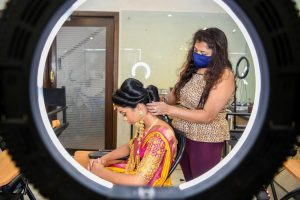 South Indian Bridal Workshop by Guest Faculty –Ms. Naina Singh diploma in makeup and hairstyle artistry - demontration 300x200 - Diploma in Makeup and Hairstyle Artistry – 6 Weeks