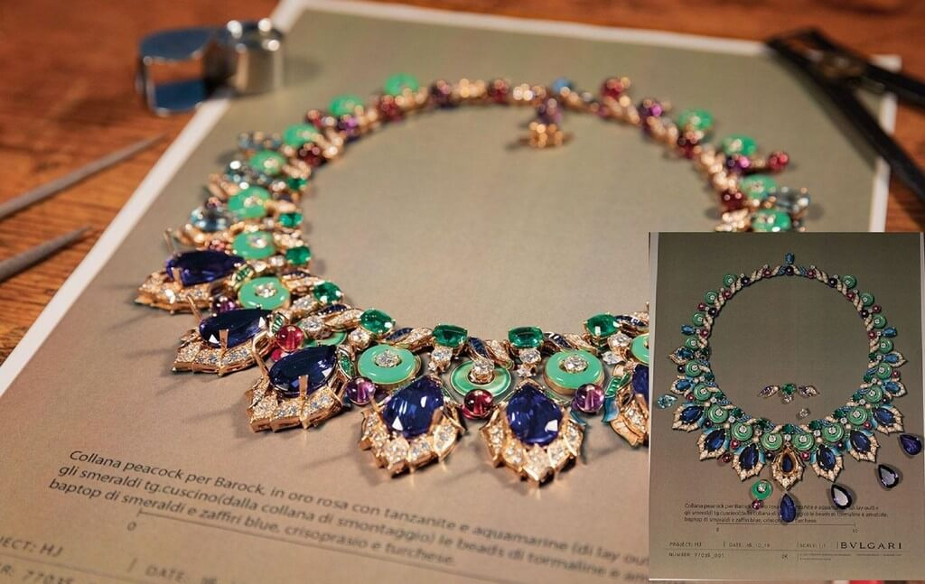 Gouache Painting for Jewellery Design gouache painting - Bulgari Barocko Collection - Gouache Painting for Jewellery Design