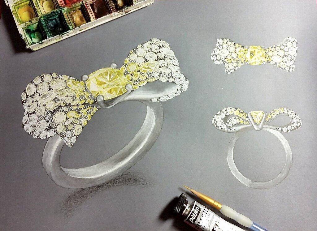 Gouache Painting for Jewellery Design gouache painting - Hand rendering - Gouache Painting for Jewellery Design