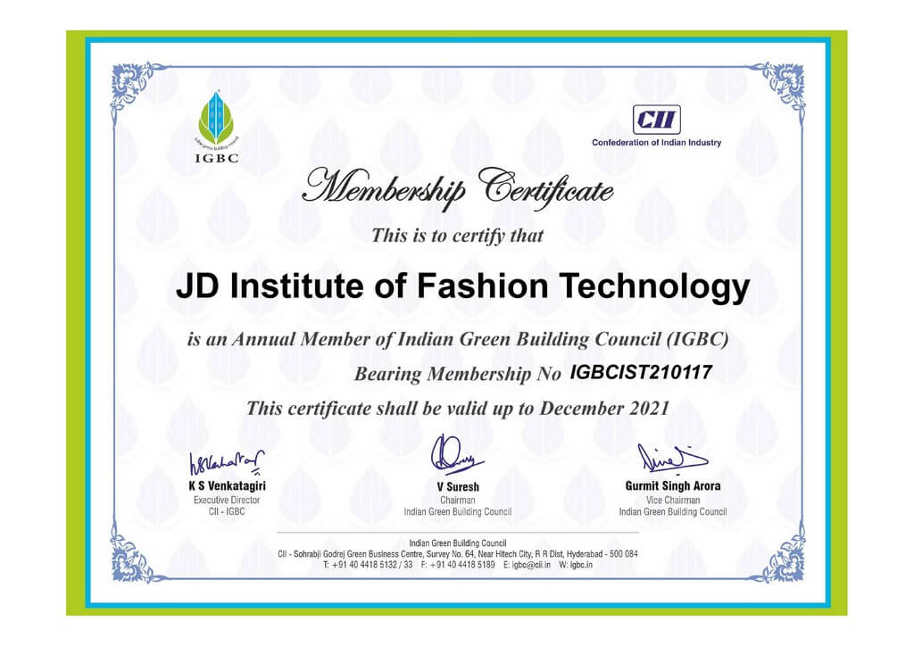 Honorary membership awarded to JD by Indian Green Building Council honorary membership - Mermbership Certificate - Honorary membership awarded to JD by Indian Green Building Council