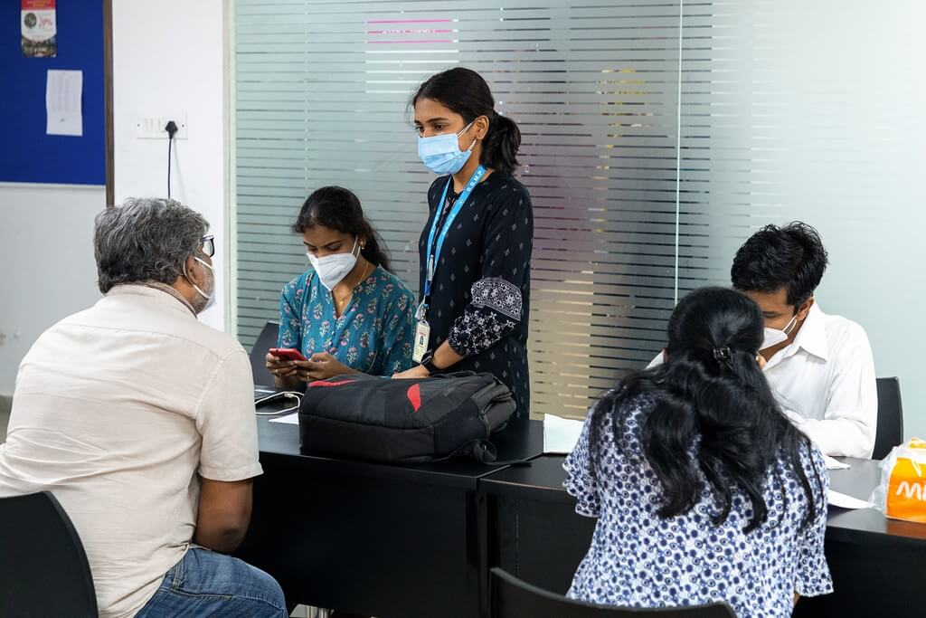 COVID-19 vaccination drive organised for employees of JD Institute covid-19 vaccination - Registration counters - COVID-19 vaccination drive organised for employees of JD Institute
