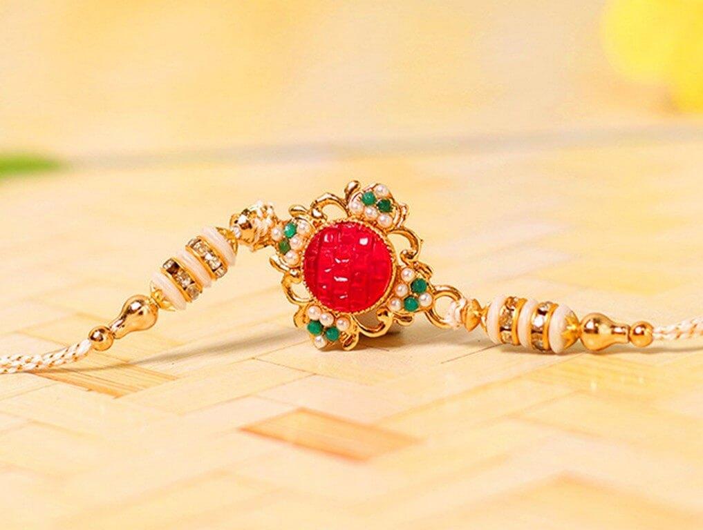 Red Stone Rakhi raksha bandhan - Red Stone Rakhi - Raksha Bandhan – Rakhi, Banter and Revelry