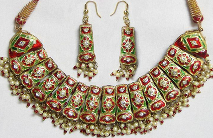 Meenakari Technique padmavati jewellery - gems of rajasthan Padmavati Jewellery – Gems of Rajasthan – Samanvita Gnanesh Meenakari technique
