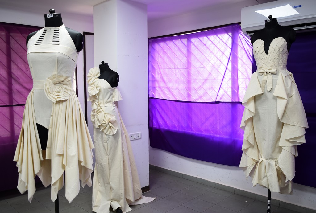 Fashion Design Students creating wonders fashion design students - Draping 4 - Fashion Design Students creating wonders by folding and pinning the fabrics | Draping Exhibition