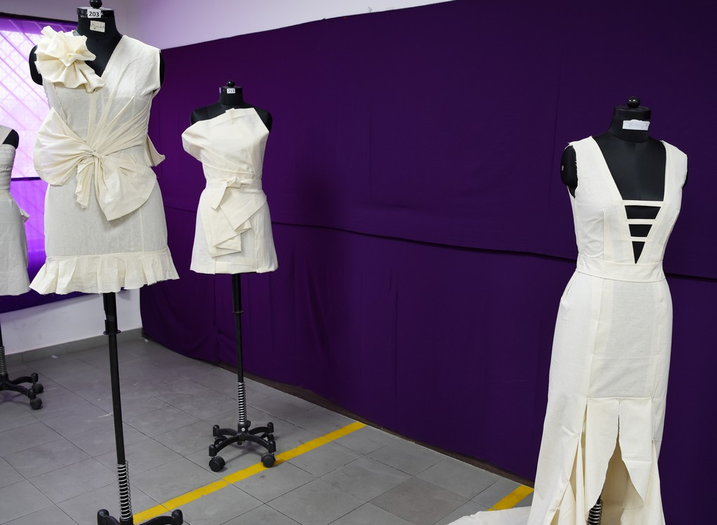 Fashion Design Students creating wonders fashion design students - Draping 5 - Fashion Design Students creating wonders by folding and pinning the fabrics | Draping Exhibition