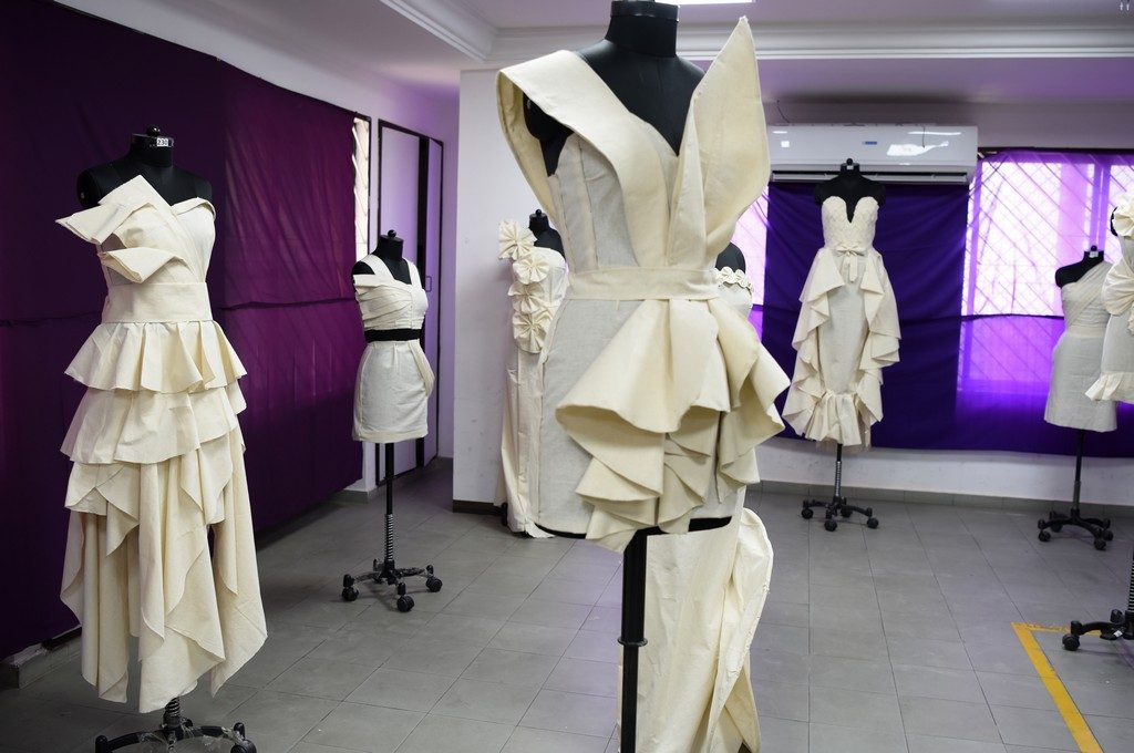 - Draping 6 1024x680 - Fashion Design Students creating wonders by folding and pinning the fabrics | Draping Exhibition