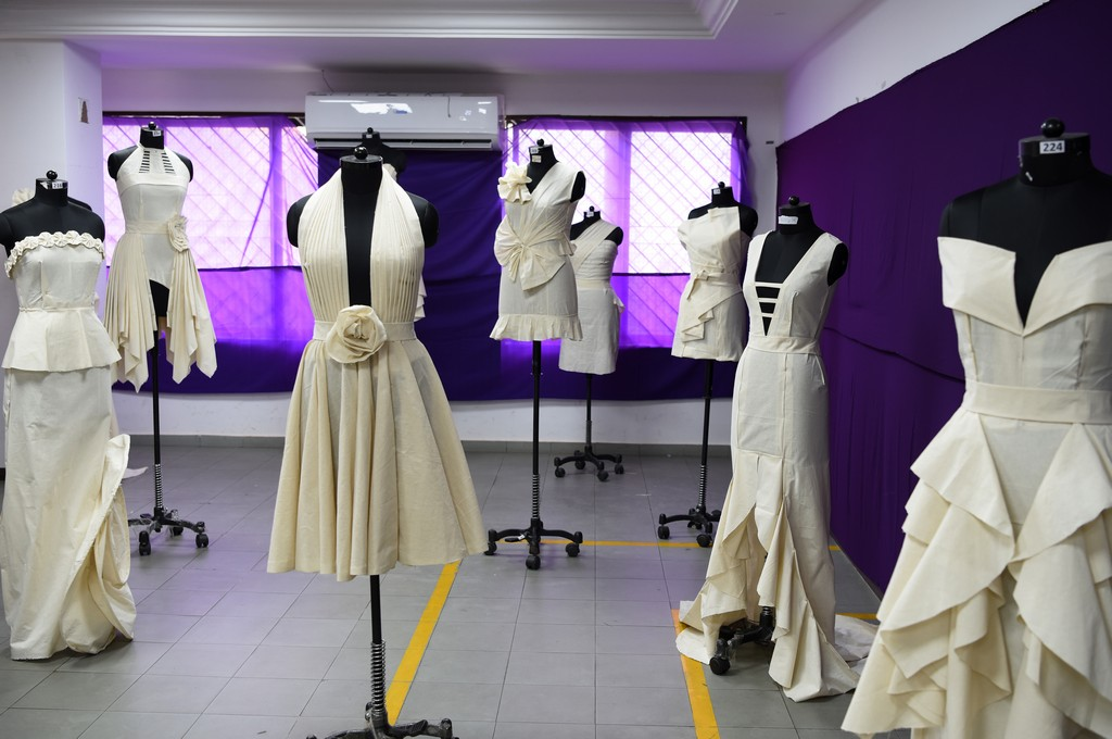 Fashion Design Students creating wonders by folding and pinning the fabrics | Draping Exhibition Draping 8