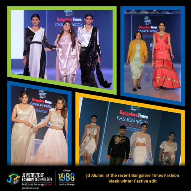 jd institute JD INSTITUTE BRINGING THE BEST VERSION OF DESIGN AT BANGALORE TIMES FASHION WEEK- WINTER FESTIVE EDIT BFTPW Photo Collage 650x650