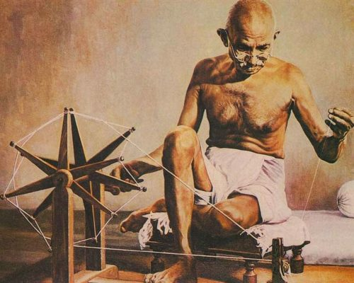 Mahatma Gandhi with Charkha vocal for local - Mahatma Gandhi with Charkha 500x400 - VOCAL FOR LOCAL IN THE CHANGING ECONOMIC LANDSCAPE